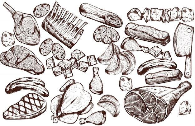 Set per carne line art con salsiccia, bistecca, costine di maiale e coltello da macellaio
