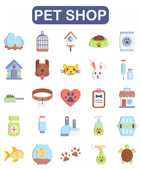 Set per negozio di animali, stile piatto premium