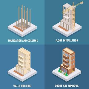 Set piatto costruzione appartamento isometrico