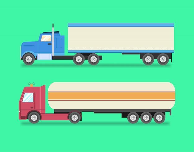 Set piatto di camion icone