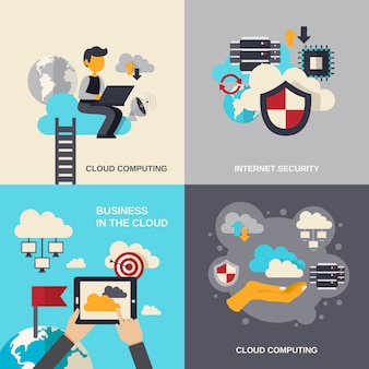Set piatto di cloud computing