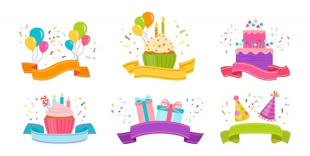 Set piatto di nastro di compleanno. nastro di cartone animato con presente, torta e candela, confezione regalo o cupcake. isolato