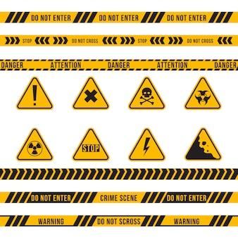Set piatto di nastro e segno di pericolo diverso