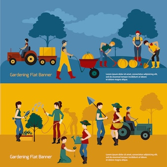 Set piatto di persone di giardinaggio