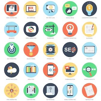 Set piatto icona concettuale di marketing digitale, video, virale