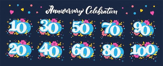 Set piatto numeri anniversario celebrazione.