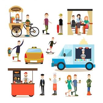 Set piatto persone di strada