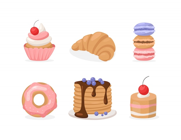 Set piatto vettoriale di dolci: ciambella, torta e pancake