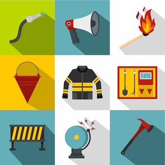 Set pompiere, stile piatto
