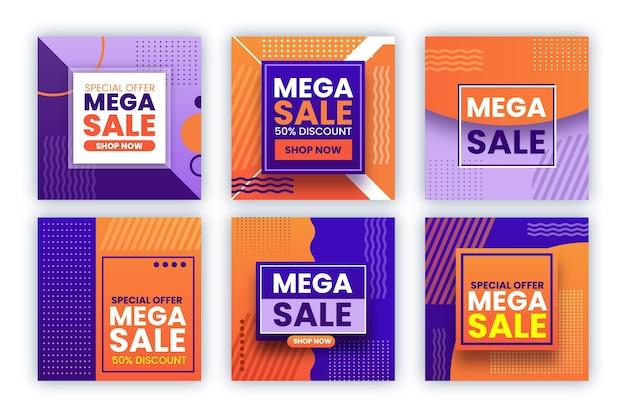 Set post di instagram di vendita