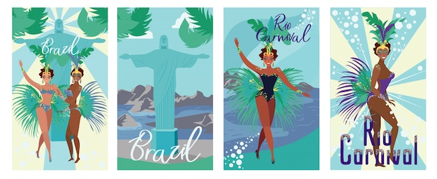 Set poster invitation brazil rio carnival flat.