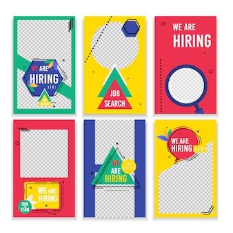 Set poster lettering ricerca lavoro che stiamo assumendo.