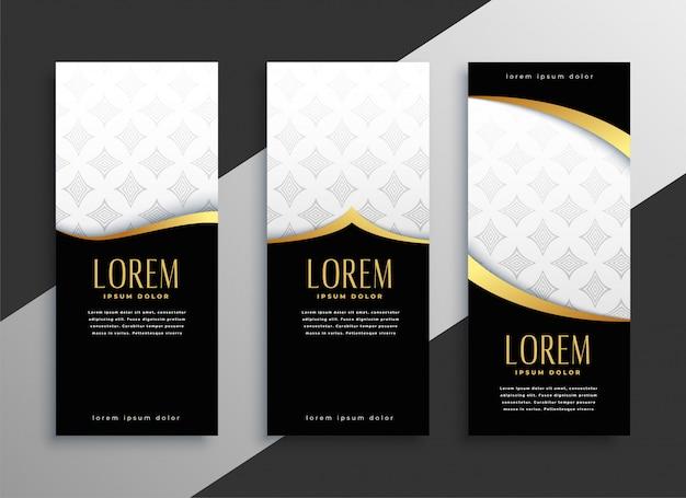Set premium di banner verticali dorati