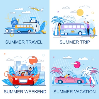 Set promozionale piatto di turismo e viaggi estivi. vacanza e viaggio nei fine settimana. persone che guidano auto e viaggiano in autobus o in aereo