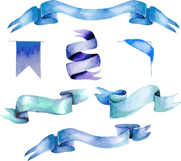 Set, raccolta di nastri blu dell'acquerello, dipinto a mano isolato su uno sfondo bianco