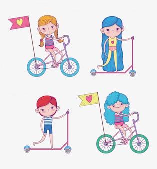 Set ragazze e ragazzo vanno in scooter e in bicicletta