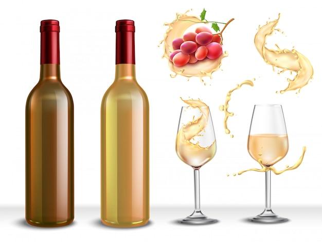 Set realistico con bottiglia di vino bianco, due bicchieri pieni di bevanda e uva
