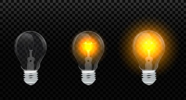 Set realistico con lampade a incandescenza, lampadine a luce gialla incandescente, isolato su trasparente. lampadina elettrica.