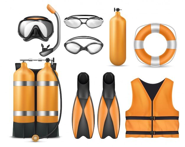 Set realistico di attrezzatura subacquea, maschera per lo snorkeling, pinne, occhiali da nuoto, autorespiratore