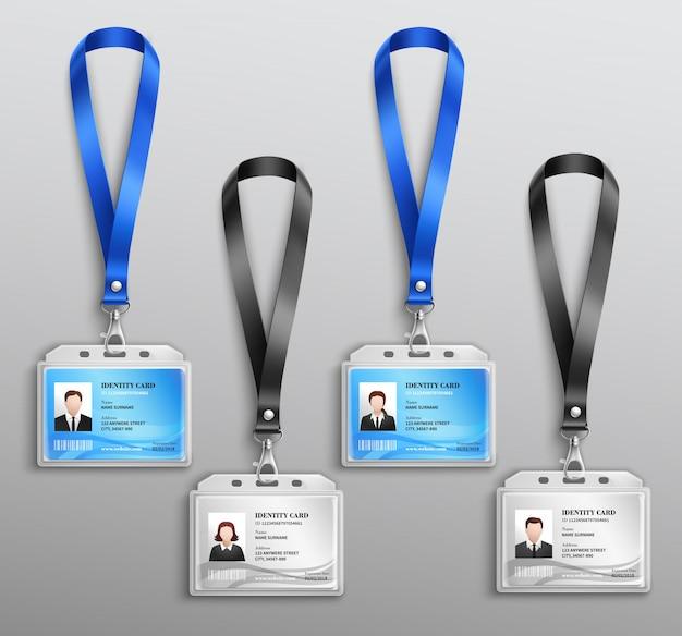 Set realistico di badge carte d'identità