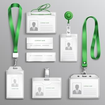 Set realistico di badge di carte d'identità