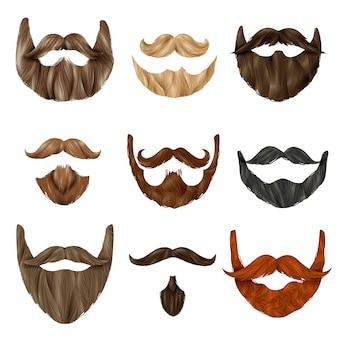 Set realistico di barbe e baffi