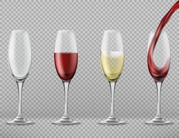 Set realistico di bicchieri alti vuoti, con vino rosso versato, merlot bianco o champagne