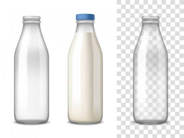 Set realistico di bottiglie di vetro di latte