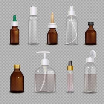 Set realistico di bottiglie diverse