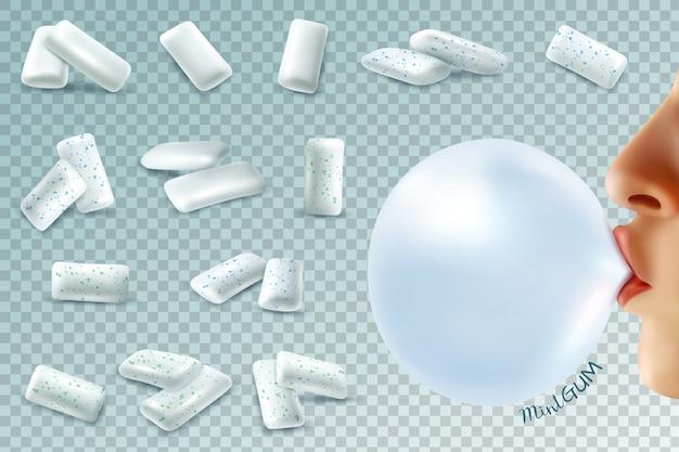 Set realistico di bubblegum alla menta