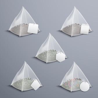 Set realistico di bustine di tè piramide