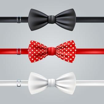 Set realistico di cravatte a fiocco rosso e bianco rosso nero