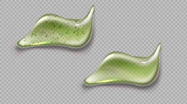 Set realistico di crema cosmetica e macchia verde striscio