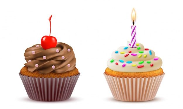 Set realistico di cupcake. pasticceria, pasticceria, torta dolce da dessert di compleanno.