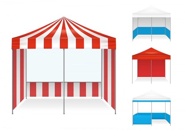 Set realistico di esempi di tenda