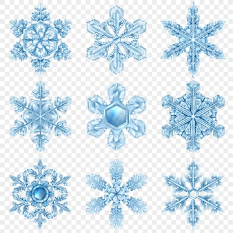 Set realistico di fiocchi di neve
