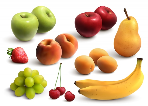 Set realistico di frutta