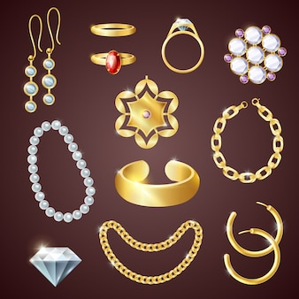 Set realistico di gioielli