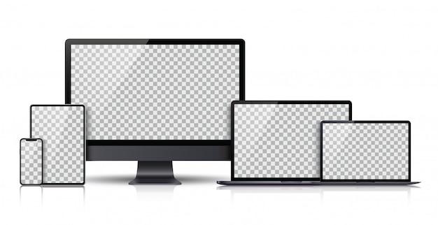 Set realistico di monitor, laptop, tablet, smartphone