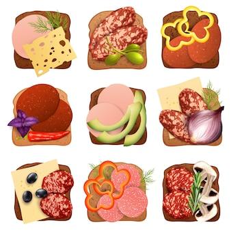 Set realistico di panini con salsiccia
