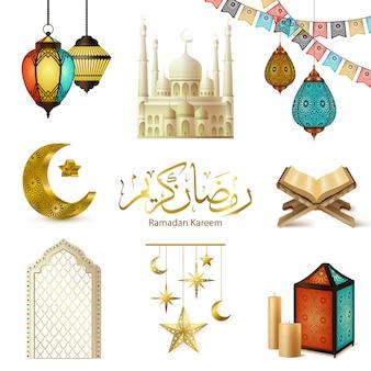 Set realistico di ramadan kareem