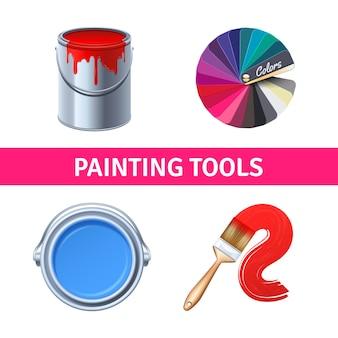 Set realistico di strumenti di pittura con pennello e scatola di colori