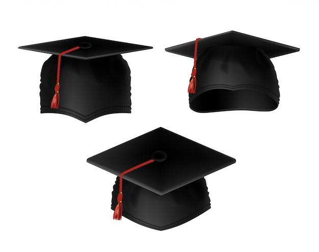 Set realistico di tappi di laurea neri con nappe rosse, vista da vari lati