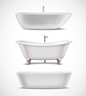 Set realistico di vasche da bagno