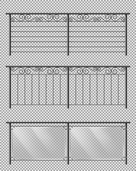Set realistico di vettore di corrimano di vetro e metallo