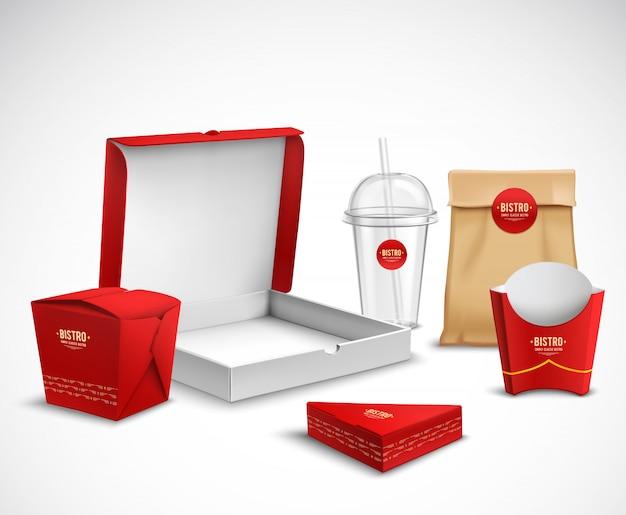 Set realistico per l'imballaggio di fast food
