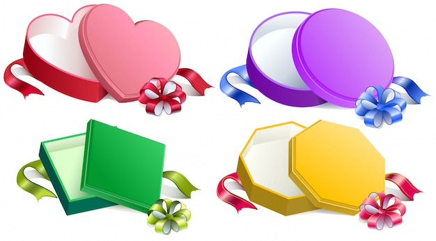 Set regalo aperto con fiocco e nastro