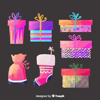 Set regalo di natale ad acquerello