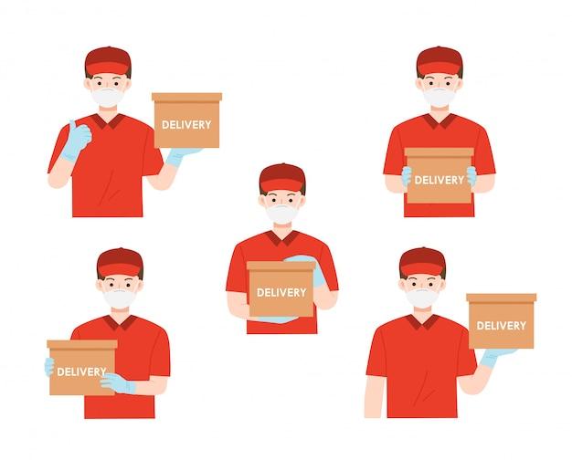 Set ritratto di uomo felice dal servizio di consegna in maglietta rossa e cappuccio dando ordine alimentare. consegna delle merci durante la prevenzione del coronovirus, covid-19. concetto di servizio di consegna.