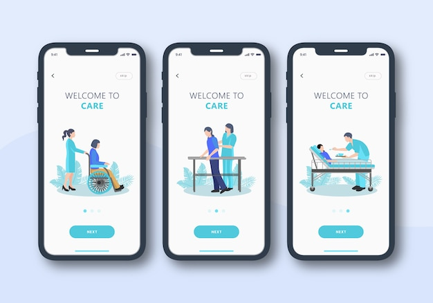 Set sanitario di interfaccia utente mobile schermo onboarding